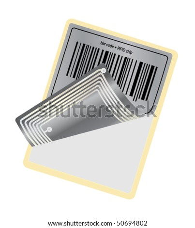barcode with RFID chip - stock vector