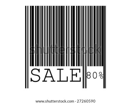 barcode with sale on white background