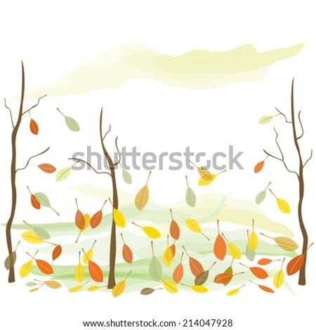 Bare autumn trees - stock vector