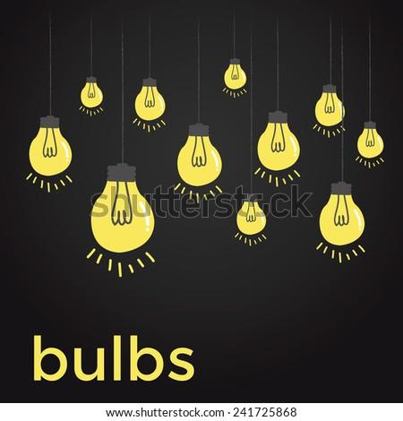 Bare bulbs hanging on strings - stock vector
