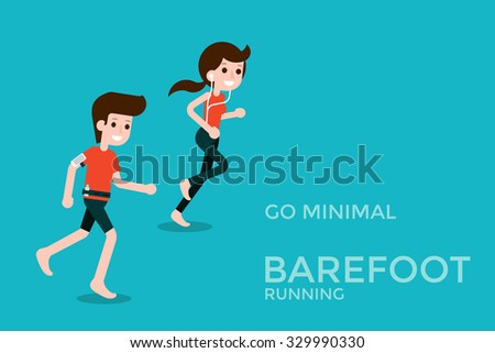 Barefoot running. - stock vector