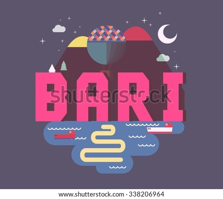 Bari beautiful city in europe. vector cartoon illustration