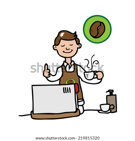 Barista and coffee machine vector - stock vector