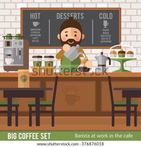 Barista creates a coffee drink in a cafe interior. Stylish cafe interior, and  character in  flat style. - stock vector