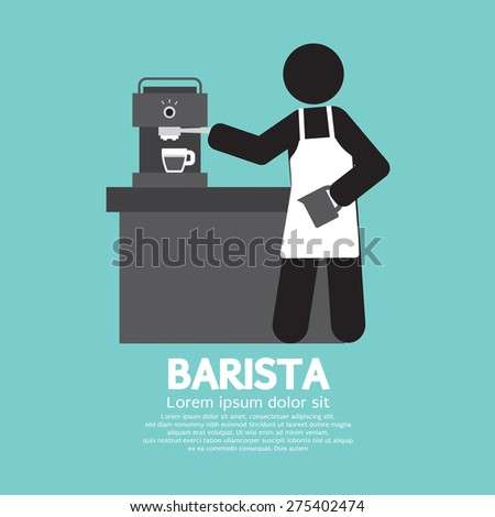 Barista Working With Espresso Machine Vector Illustration - stock vector