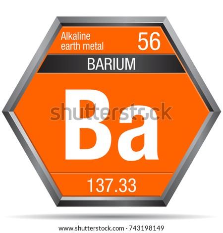 Barium Symbol Form Hexagon Metallic Frame Stock Vector 743198149