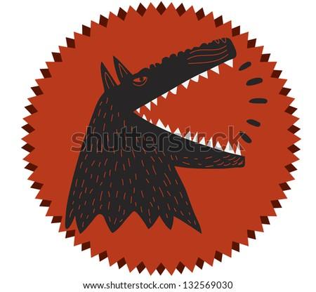 barking dog ind round label - stock vector