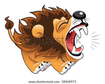 Barking lion. Funny cartoon and vector character