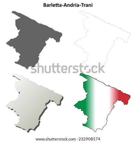 Barletta-Andria-Trani blank detailed outline map set