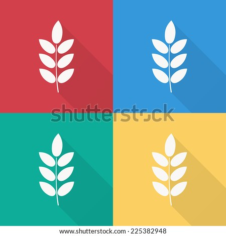barley icon , flat design on 4 color background - stock vector