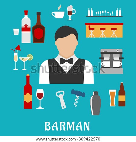 Barman and bartender profession flat icons with man, alcohol beverages and drinks, pub elements - stock vector