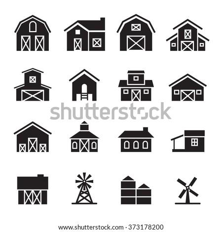barn & farm building icon set - stock vector