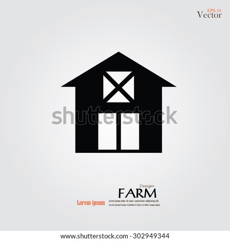 Barn house icon isolated on gray background. Vector illustration. - stock vector