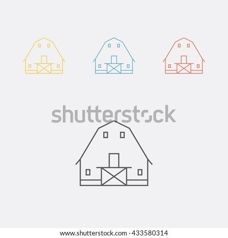 Barn. Shack. Shed, gambrel roof. Thin line icon set. Vector illustration. - stock vector
