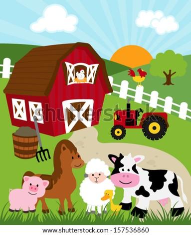 Barn Farm Animals Vector Illustration Stock Vector 157536860