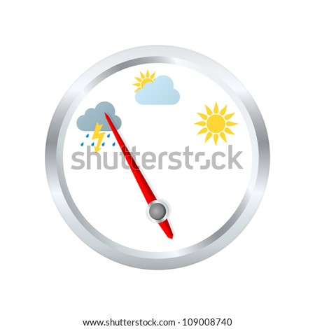 Barometer aneroid indicates stormy weather. Vector illustration - stock vector