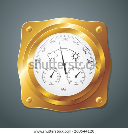 Barometer instrument, with scales for measuring air temperature and air humidity. Vector Illustration. Barometer with golden frame. - stock vector