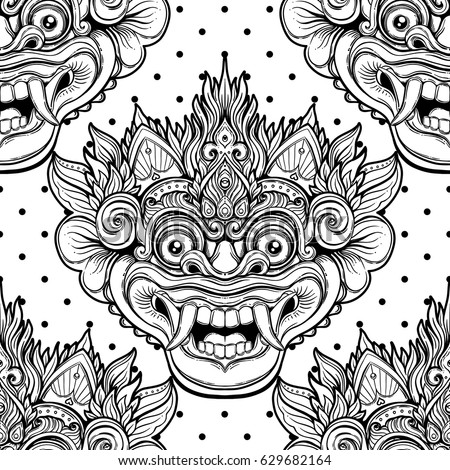 barong traditional ritual balinese mask vector decorative ornate outline black and white seamless pattern