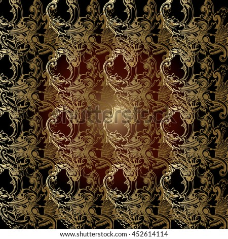Baroque antique floral vector seamless pattern background wallpaper with gold vintage elegant ornament in victorian style.Elegance rich luxury texture for wallpapers, backgrounds, textiles,page fill.  - stock vector