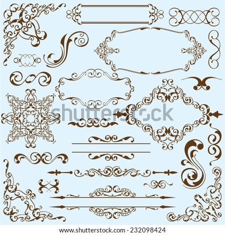 Baroque art set on blue - stock vector