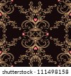Baroque black and gold vintage background with hearts - stock vector