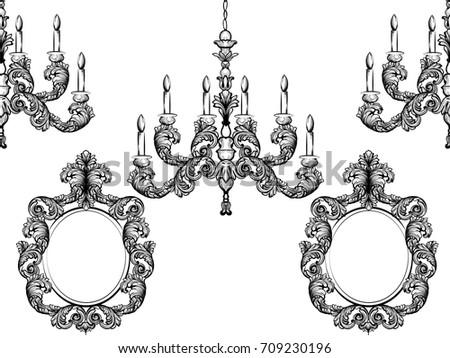 Baroque chandelier mirror frames detailed rich vector de baroque chandelier and mirror frames detailed rich ornament vector illustration graphic line art aloadofball Images