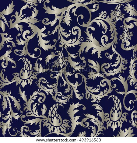 Baroque Damask Medieval Floral Modern Dark Blue Vector Seamless Pattern Wallpaper Illustration With Vintage Antique Decorative