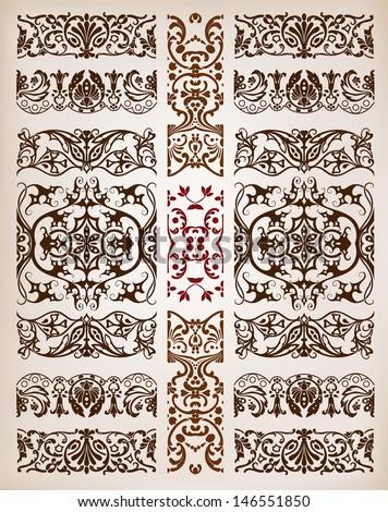 Baroque elements, Floral borders set - stock vector