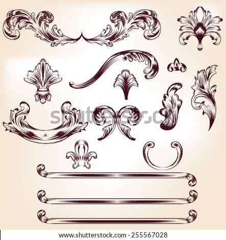 Baroque elements for your design, baroque texture, backgrounds, frames... Vector eps10. - stock vector
