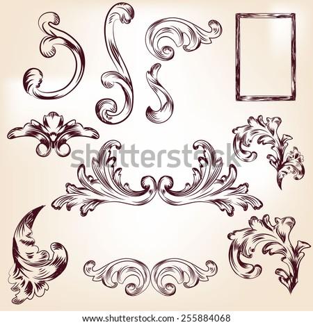 Baroque elements for your design, baroque texture, backgrounds, frames... Vector eps10. - stock vector