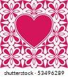 baroque flourish heart design, vector image - stock vector