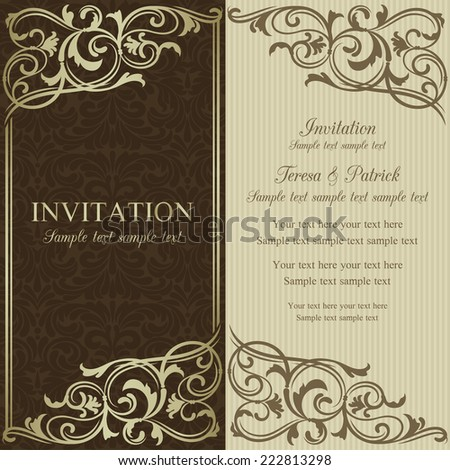 Baroque invitation card in old-fashioned style, brown and beige - stock vector