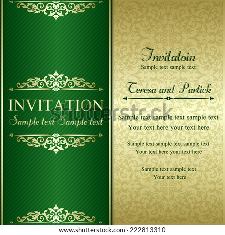 Baroque invitation card in old-fashioned style, gold and green - stock vector
