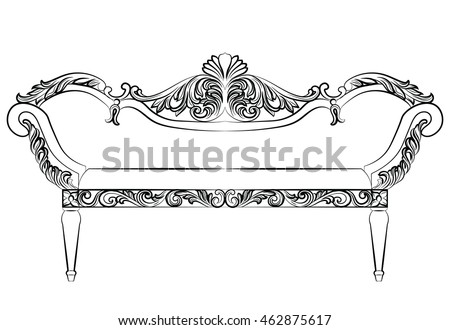 Baroque luxury style furniture. Bench with luxurious rich ornaments. French Luxury rich carved decoration. Vector Victorian exquisite Style structure