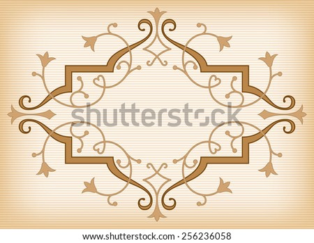 Baroque ornament in Victorian style with abstract tulips, curly lines decoration and copy space in the center - stock vector