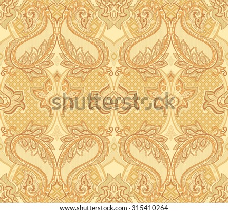 Baroque Paisley seamless pattern for design of packaging, paper and textiles. Vector illustration