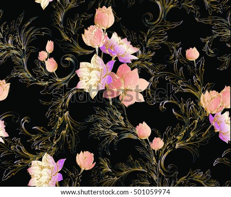 Baroque pattern with bouquets of tulips and lily and classic swirls on black background