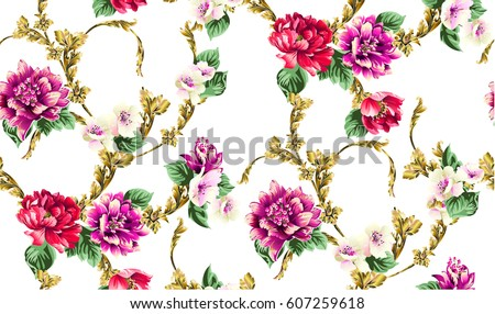 Baroque pattern with branch from gold scrolls,and floral motives, bouquet of flowers, peony, tulips, leaves.