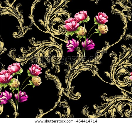 Baroque pattern with gold scrolls and bouquet of tulip flowers on black
