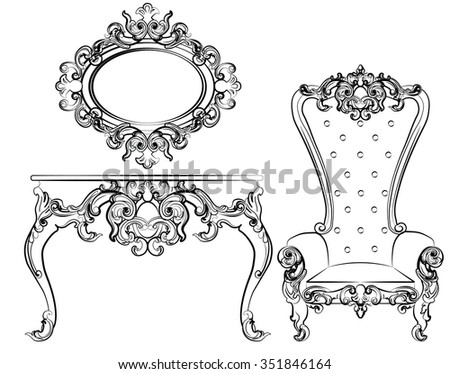 Baroque royal set of furniture with damask ornaments. Vector - stock vector
