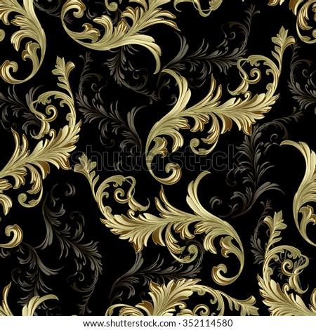 Baroque scrolls vector pattern - stock vector