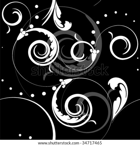 baroque seamless pattern on a black background - stock vector