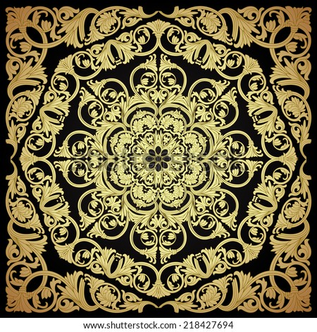 Baroque Seamless Pattern. Ornamental twisted background. Damask motif wallpaper. Vintage floral pattern.Vector illustration - stock vector