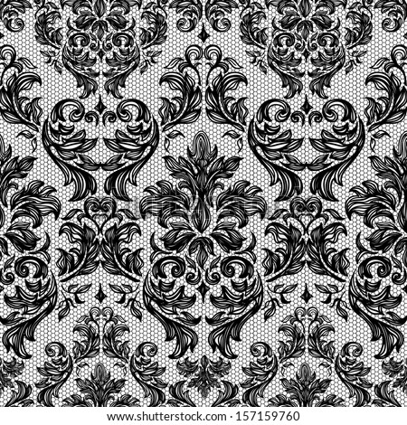 Baroque seamless vintage lace background - stock vector