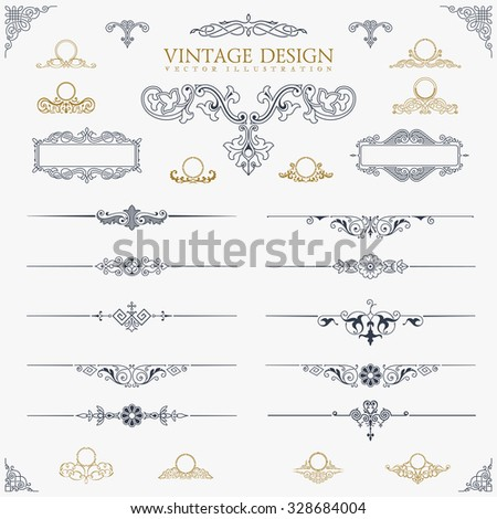 Baroque Set of vintage decor elements. Floral calligraphic ornaments and frames. Retro Style design for Invitations, Banners, Posters, Placards, Border and Logotypes. - stock vector