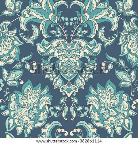 Baroque style floral wallpaper. Seamless vector pattern - stock vector