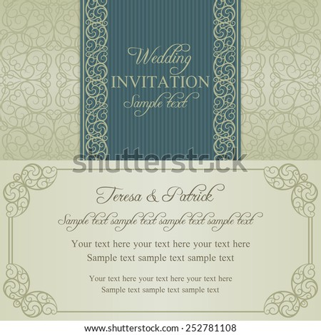 Baroque wedding invitation card in old-fashioned style, blue and beige - stock vector