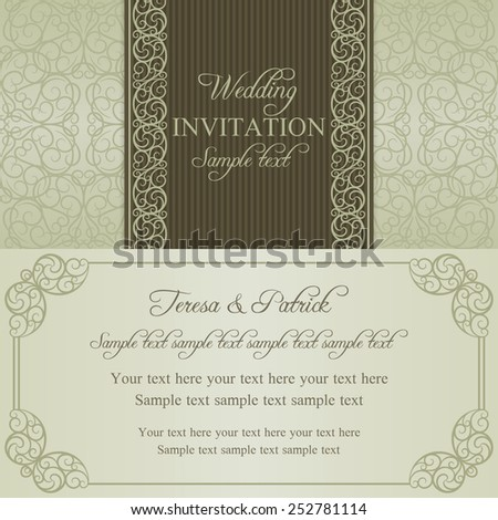 Baroque wedding invitation card in old-fashioned style, dull gold on beige background