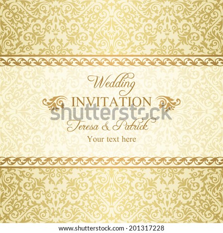 Baroque wedding invitation, gold on beige background - stock vector