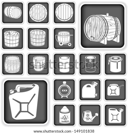 barrel and canister buttons vector set - stock vector